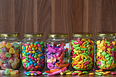 Various sugary candy in a glass jar
