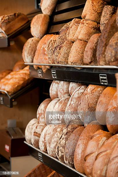 Various type of bread in shelves