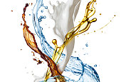 splashes of coffee, oil, milk and water