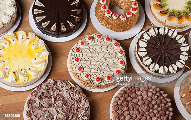 Various types of cake on a table