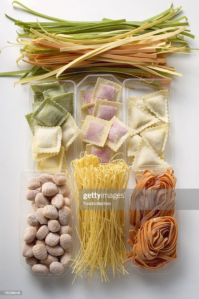 Various types of coloured pasta : Stock Photo