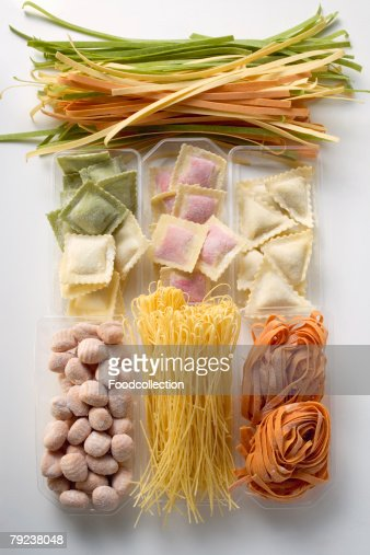 Various types of coloured pasta : Stock Photo