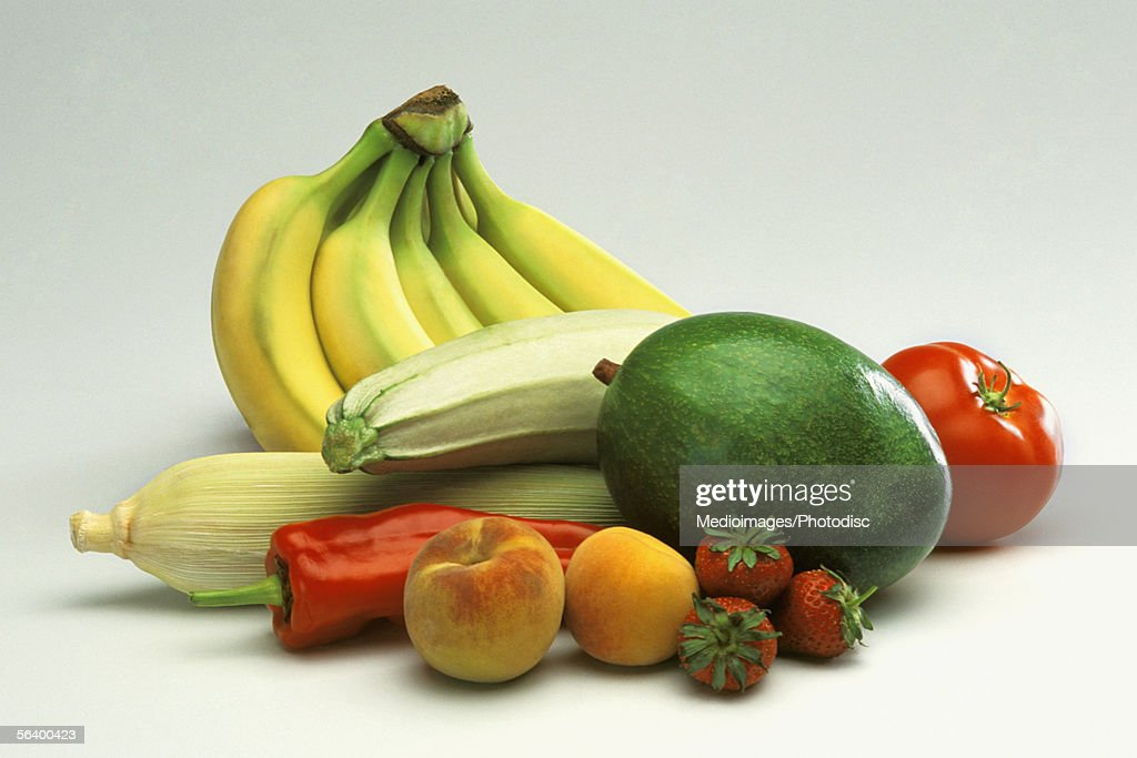 Various vegetables and fruits, close up : Stock Photo