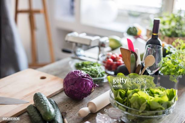 Various vegetables on kitchen counter