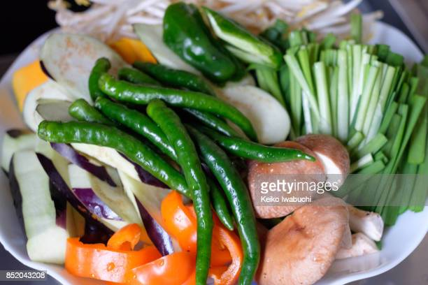Various vegetables on plate for barbecue