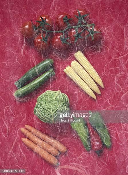 Various vegetables on red handmade paper