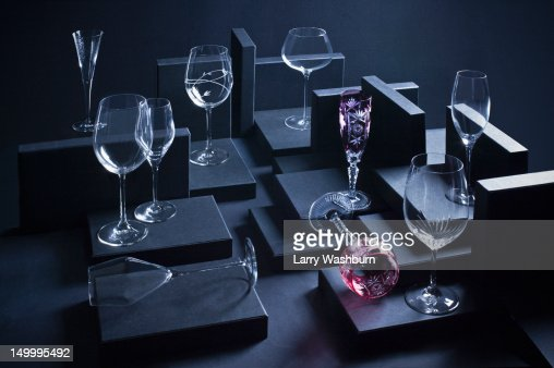 Various wineglasses arranged in a display