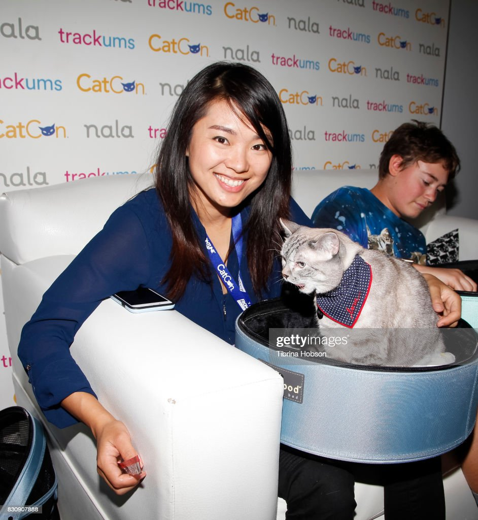 Varisiri Mathachittiphan and Nala attend the 3rd Annual CatCon at Pasadena Convention Center on August 12, 2017 in Pasadena, California.
