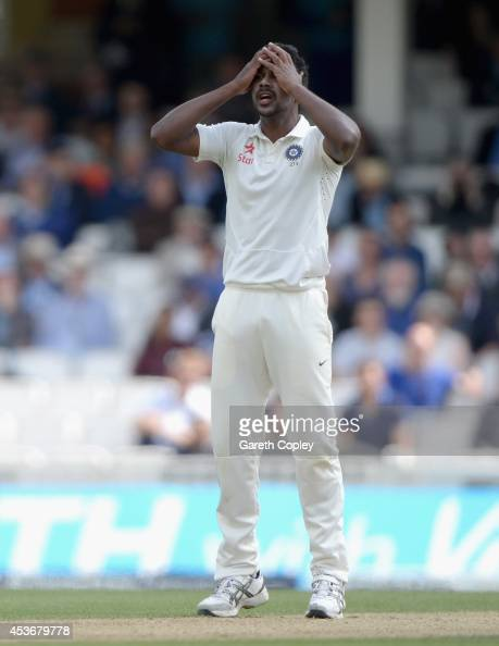 Varun Aaron of India reacts after bowling to England captain Alastair Cook during day two of 5th Investec Test match between England and India at The...