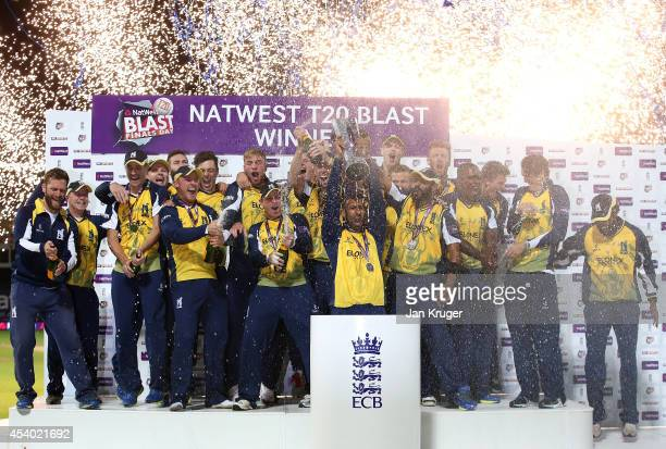 Varun Chopra of Birmingham Bears lifts the trophy after victory during the Natwest T20 Blast Final match between Birmingham Bears and Lancashire...