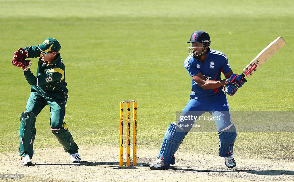 Varun Chopra of the Lions bats during the international tour match between Australia 'A' and England at Blundstone Arena on February 18, 2013 in Hobart, Australia.