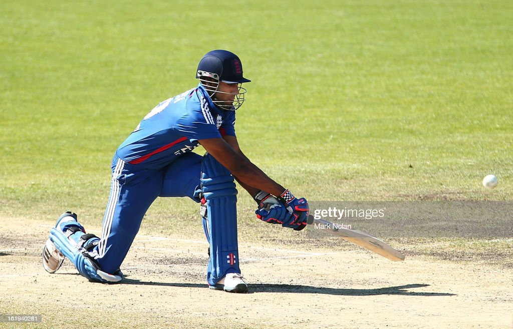 <a gi-track='captionPersonalityLinkClicked' href=/galleries/search?phrase=Varun+Chopra&family=editorial&specificpeople=734731 ng-click='$event.stopPropagation()'>Varun Chopra</a> of the Lions bats during the international tour match between Australia 'A' and England at Blundstone Arena on February 18, 2013 in Hobart, Australia.