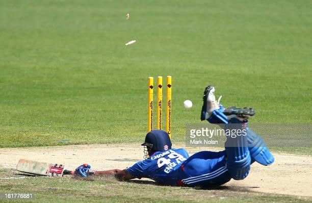 Varun Chopra of the Lions bats narrowly avoids a run out during the international tour match between Australia 'A' and the England Lions at...
