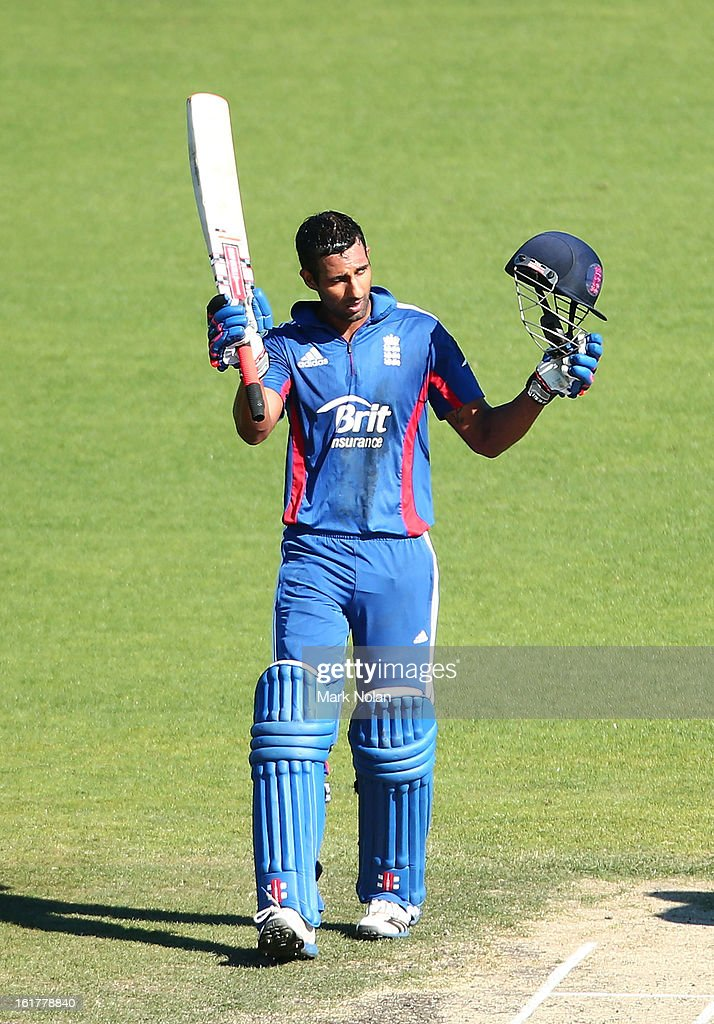 <a gi-track='captionPersonalityLinkClicked' href=/galleries/search?phrase=Varun+Chopra&family=editorial&specificpeople=734731 ng-click='$event.stopPropagation()'>Varun Chopra</a> of the Lions celebrates his centruy during the international tour match between Australia 'A' and the England Lions at Blundstone Arena on February 16, 2013 in Hobart, Australia.
