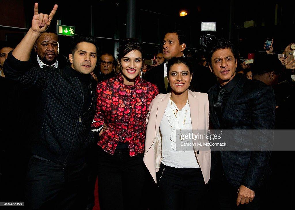 Varun Dhawan Kriti Sanon Kajol and Shah Rukh Khan attend Photocall for Bollywood film 'Dilwale' at Cineworld Feltham on December 1 2015 in Feltham...