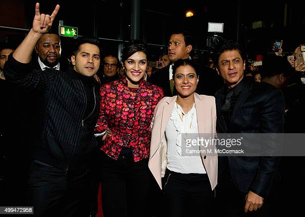 Varun Dhawan Kriti Sanon Kajol and Shah Rukh Khan attend Photocall for Bollywood film 'Dilwale' at Cineworld Feltham on December 1 2015 in Feltham...