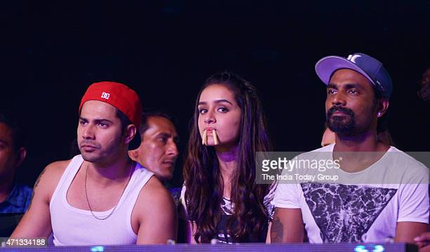Varun Dhawan Remo D'souza and Shraddha Kapoor attending a dance completion and promoting their upcoming movie of ABCD2 in Mumbai