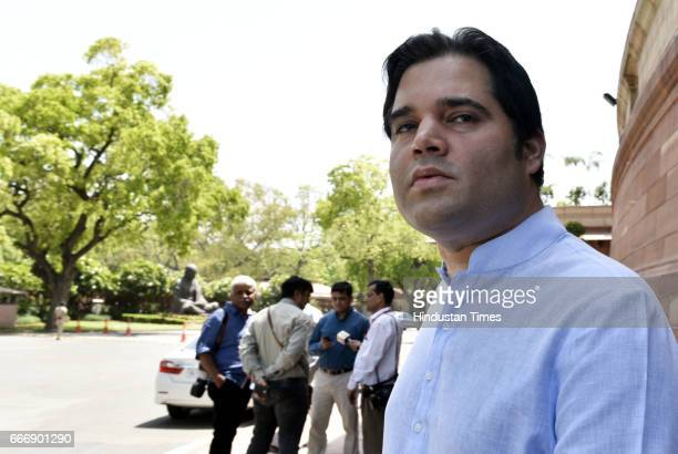 Varun Gandhi at Parliament during the second leg of Budget Session on April 10 2017 in New Delhi India The Lok Sabha passed the Motor Vehicle...