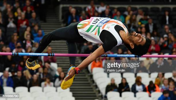 Varun Singh Bhati of India in action during the final of the mens high jump T42 on day nine of the IPC World ParaAthletics Championships 2017 at...