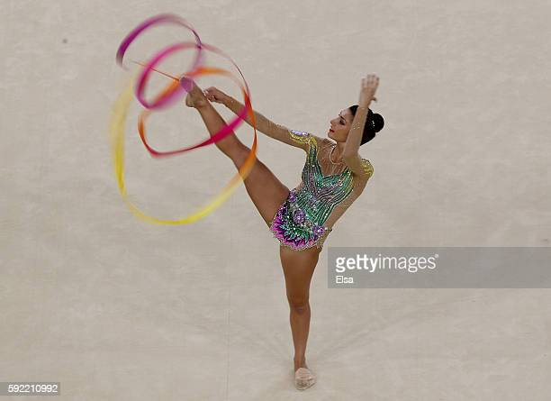 Varvara Filiou of Greece performs her ribbon routine during the Rhythmic Gymnastics Individual AllAround on August 19 2016 at Rio Olympic Arena in...