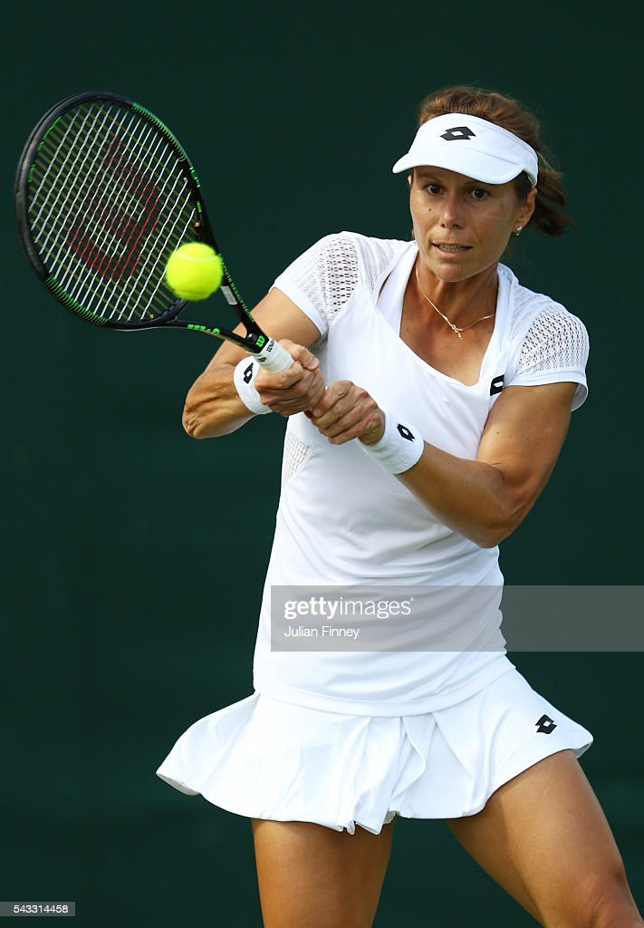 <a gi-track='captionPersonalityLinkClicked' href=/galleries/search?phrase=Varvara+Lepchenko&family=editorial&specificpeople=2288983 ng-click='$event.stopPropagation()'>Varvara Lepchenko</a> of The United States plays a forehand shot during the Men's Singles first round match against Teliana Pereira of Brazil on day one of the Wimbledon Lawn Tennis Championships at the All England Lawn Tennis and Croquet Club on June 27th, 2016 in London, England.