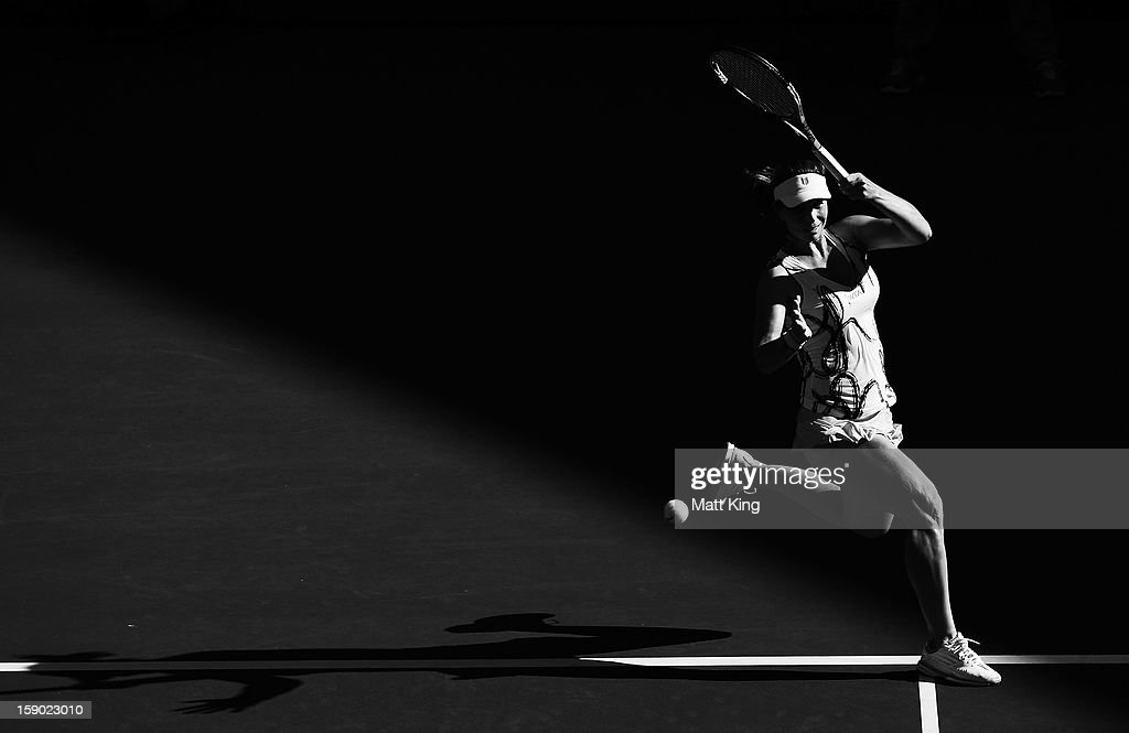 <a gi-track='captionPersonalityLinkClicked' href=/galleries/search?phrase=Varvara+Lepchenko&family=editorial&specificpeople=2288983 ng-click='$event.stopPropagation()'>Varvara Lepchenko</a> of USA plays a forehand in her first round match against Ekaterina Makarova of Russia during day one of the Sydney International at Sydney Olympic Park Tennis Centre on January 6, 2013 in Sydney, Australia.