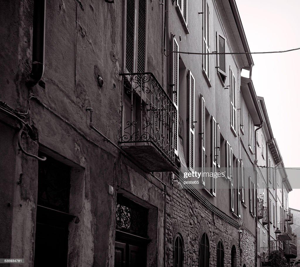 Varzi, old city centre. Black and white photo : Stock Photo