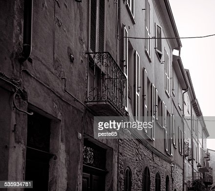 Varzi, old city centre. Black and white photo : Stock Photo