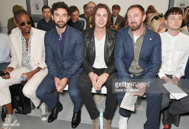 Vas J Morgan Aidan Turner Willow Robinson Ralph Ineson and Fin Munro attend the Oliver Spencer SS18 Catwalk Show during London Fashion Week Men's...