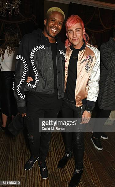 Vas J Morgan and Kyle De'Volle attend the JF London x Kyle De'Volle VIP dinner at Beach Blanket Babylon on September 29 2016 in London England