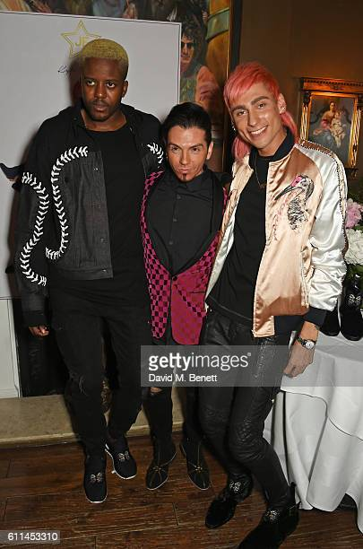 Vas J Morgan Joshua Fenu and Kyle De'Volle attend the JF London x Kyle De'Volle VIP dinner at Beach Blanket Babylon on September 29 2016 in London...