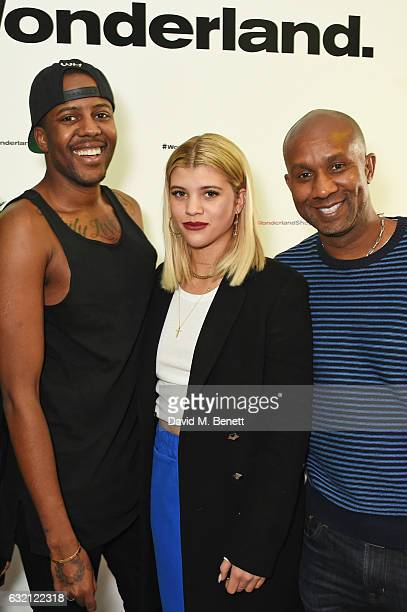 Vas J Morgan Sofia Richie and Alex Avant attend the launch of Wonderland Magazine's popup shop at 192 Piccadilly on January 19 2017 in London England