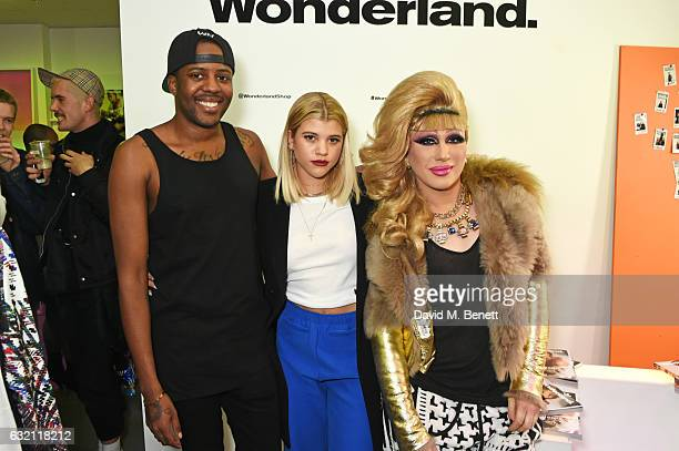 Vas J Morgan Sofia Richie and Jodie Harsh attend the launch of Wonderland Magazine's popup shop at 192 Piccadilly on January 19 2017 in London England
