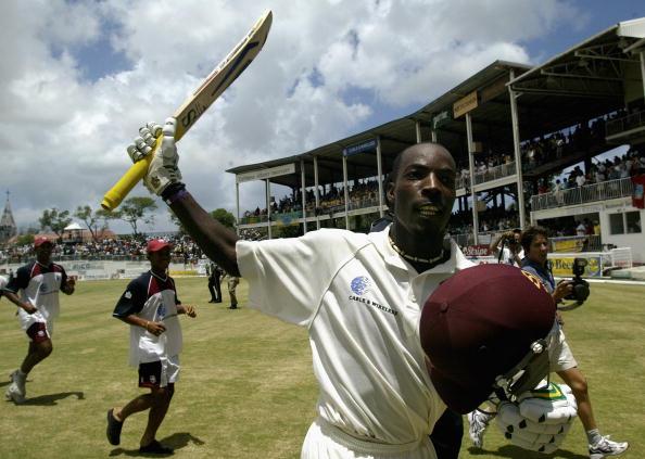 Vasbert Drakes of the West Indies celebrates the win : News Photo
