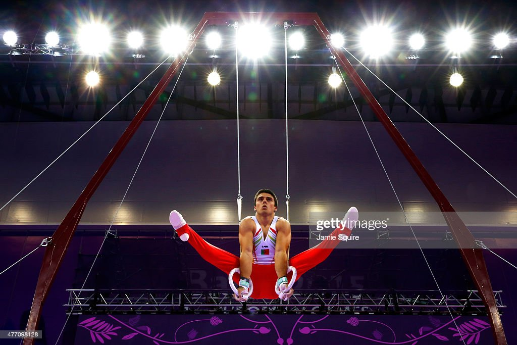 Vasco Barata of Portugal competes on the rings in the Men's Team Final and Individual Qualification during day two of the Baku 2015 European Games at...