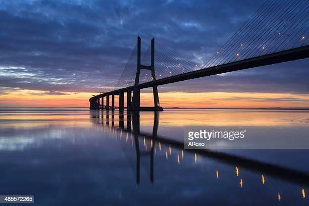 Vasco da Gama Bridge crosses the Tagus River in Li