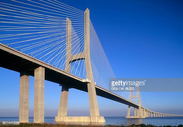 Vasco da Gama Bridge over the Tagus river connecting Montijo and Sacavem Lisbon Portugal 20th century