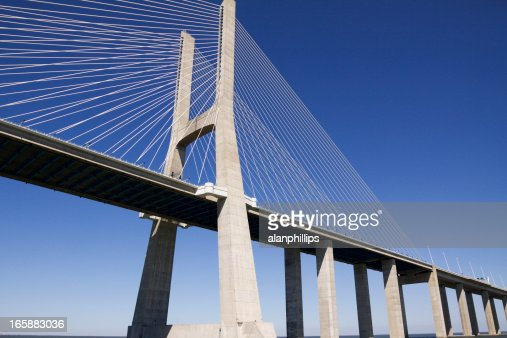 Vasco da Gama bridge, contemporary cable-stayed, strong support.