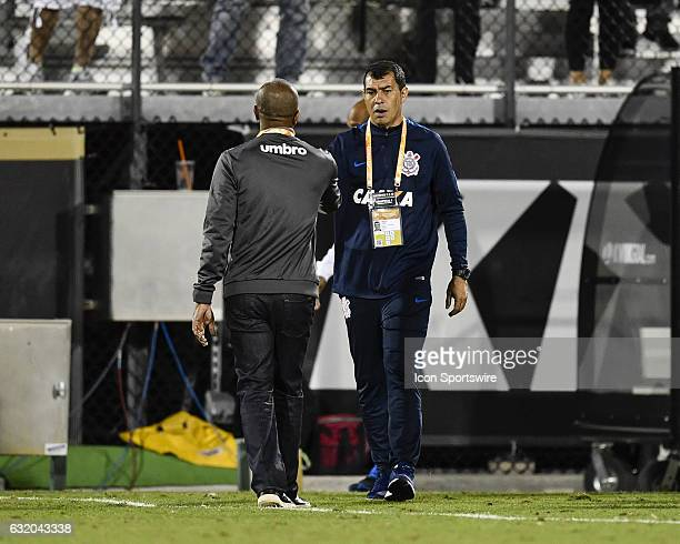 Vasco da Gama head coach Cristóvão Borges and Corinthians head coach Fábio Carille shake hands following the second half of the Florida Cup Semifinal...