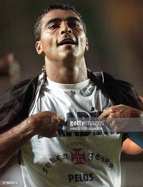 Vasco da Gama soccer star Romario celebrates after scoring his team's second goal against Necaxa of Mexico during their World Club Championship match...