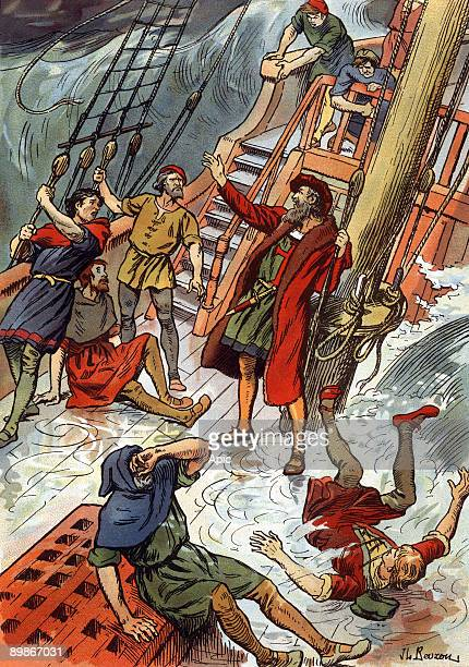 Vasco de Gama portuguese explorer here during a storm at Cape of Good Hope in South Africa illustration by JL Beuzon 1933