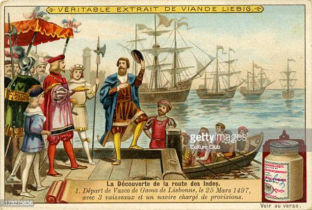 Vasco de Gamma departs from Lisbon with four ships 25 March 1497 Liebig Company collectible cards series 'The Discovery of the Route to India'...