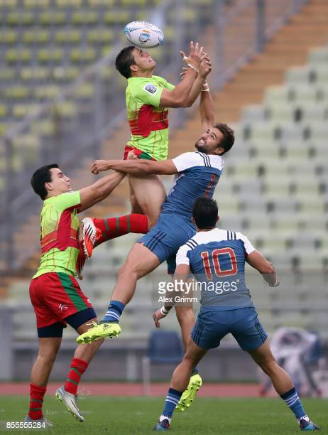 Vasco Mendes of Portugal tries to catch under pressure from Sacha Valleau of France during the match between France and Portugal on Day 1 of the...