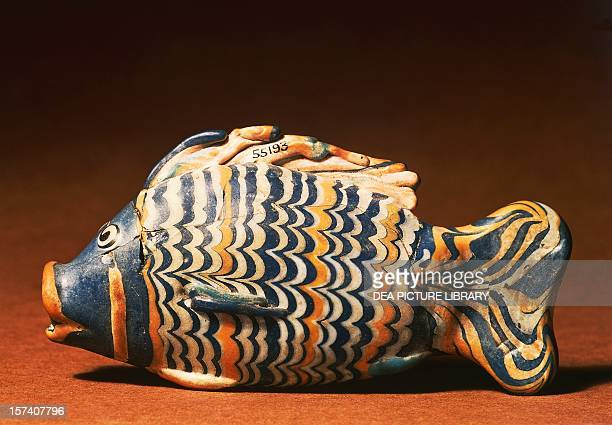 Vase in the form of fish ca 1350 BC polychrome glass Tell elAmarna Egypt 18th Dynasty 14th century BC London British Museum