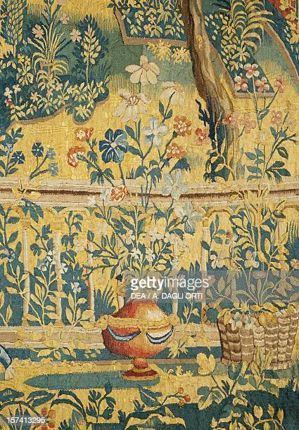 Vase with Flowers detail from detail from A garden with Ovid figures Minerva and the nine Muses late 16th century Flemish tapestry from cartoons by...