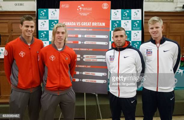 Vasek Pospisil and Denis Shapovalov of Canada pose for a photo with Dan Evans and Kyle Edmund of Great Britain during the draw ceremony of the Davis...
