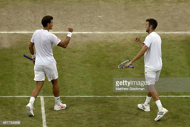 Vasek Pospisil of Canada and Jack Sock of the United States during their Gentlemen's Doubles Final against Bob Bryan and Mike Bryan of the United...