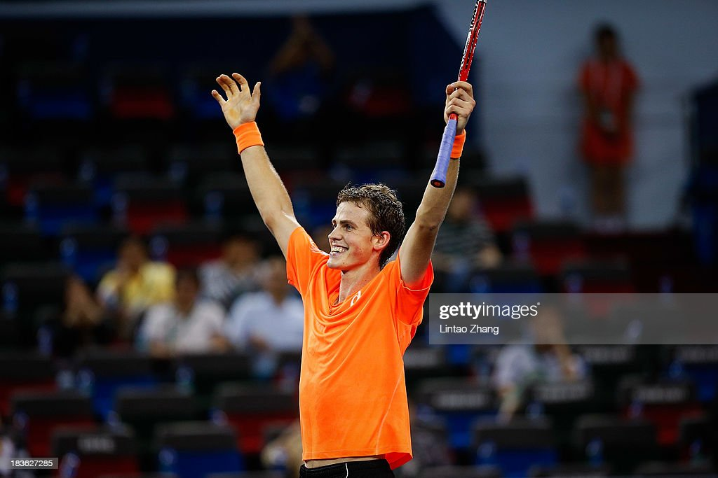 <a gi-track='captionPersonalityLinkClicked' href=/galleries/search?phrase=Vasek+Pospisil&family=editorial&specificpeople=5421228 ng-click='$event.stopPropagation()'>Vasek Pospisil</a> of Canada celebrates his win against Richard Gasquet of France during day two of the Shanghai Rolex Masters at the Qi Zhong Tennis Center on October 8, 2013 in Shanghai, China.