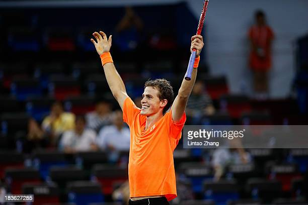 Vasek Pospisil of Canada celebrates his win against Richard Gasquet of France during day two of the Shanghai Rolex Masters at the Qi Zhong Tennis...