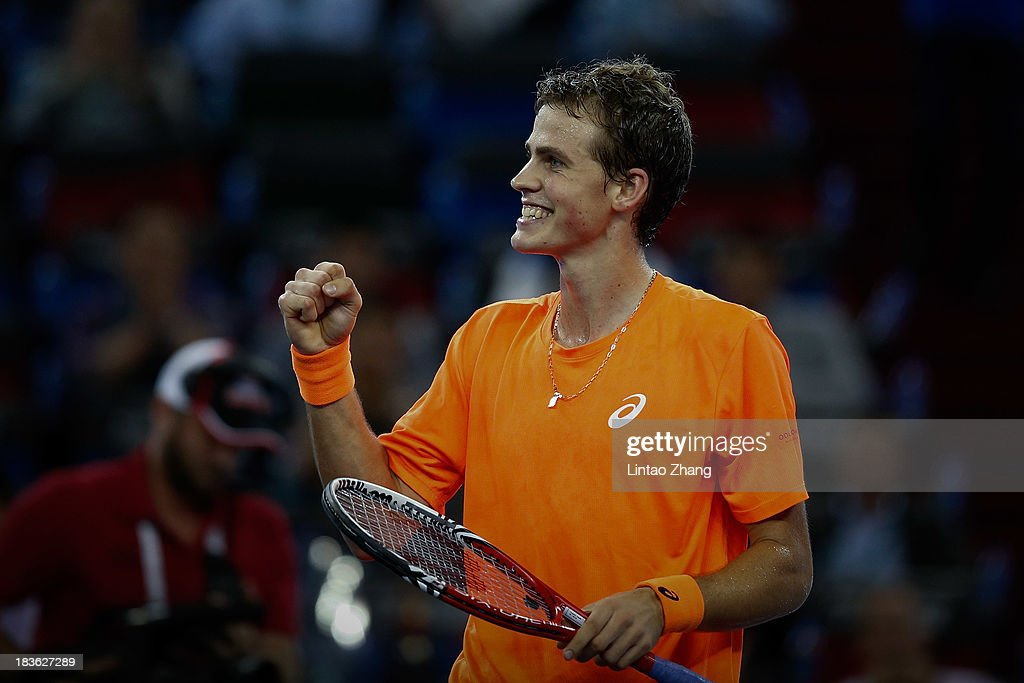 Vasek Pospisil of Canada celebrates his win against Richard Gasquet of France during day two of the Shanghai Rolex Masters at the Qi Zhong Tennis Center on October 8, 2013 in Shanghai, China.